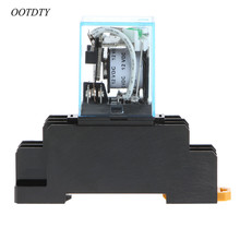 OOTDTY MY4NJ LY2NJ MY2NJ Intermediate Relay MY4N-J AC 220V DC 12V 10A 8 Pin With Base