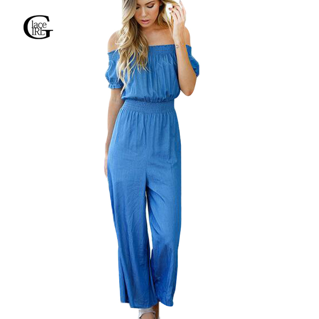Lace Girl 2017 Fashion Elegant Women Jumpsuit Off Shoulder Blue Strapless Casual Rompers Loose Slash Neck Jumpsuit Overalls