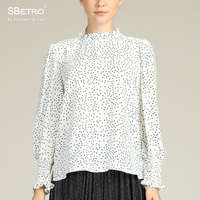 SBetro Paisley Print Blouse Female Chiffon Sheer Mockneck Smocked Cuff Long Balloon Sleeve Women Tunic Top Tee