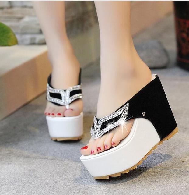 363393dfd6 2019 Women Sandals Flat Rhinestones Flip Flops Thick Bottom Platform Summer  mujer High heels 11CM sandalias