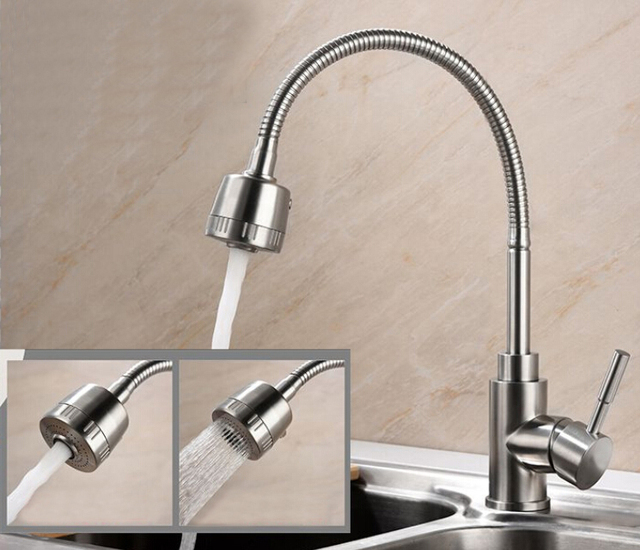 Free Shipping 304 Stainless Steel Kitchen Mixer Taps Hot And Cold Kitchen  Tap Single Hole Water
