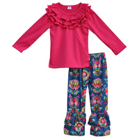 2017 New Arrivals Spring Boutique Girl Outfits Baby Rose Sleeve Tops Tropical Floral Leggings Children Clothing Sets F107