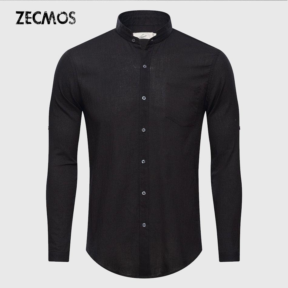 Ultrafino Ver a través de camisas de hombre de verano sólido liso chino mandarín medio cuello de algodón manga larga sociedad clásico Grandad
