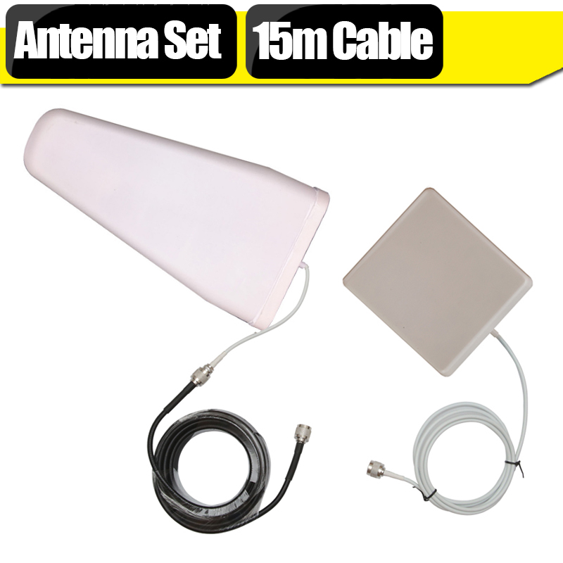 2G 3G 4G LTE Signal Booster Antenna Set For Signal Repeater 11dBi Outdoor Antenna + 9dBi Panel Antenna +15 Meters Coaxial Cable