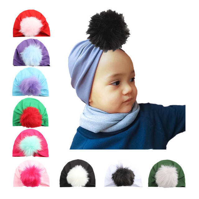 dcfe26be3f6 Baby turban hat fur pompom ball for tots Infant toddler Topknot beanie Baby  girls winter gift stretchy 1pc