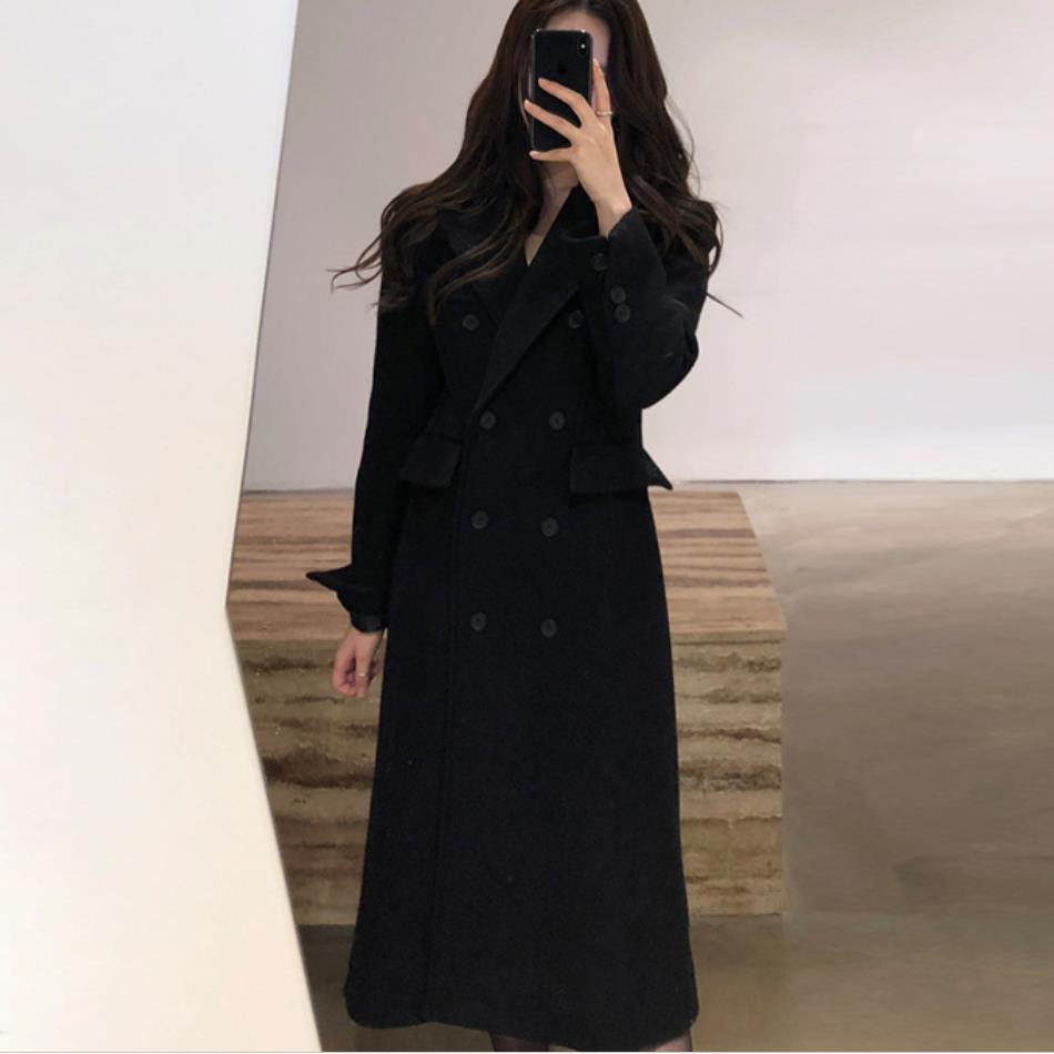 Et Laine Nouvelle De Noir Section Mince Femelle Automne 2019 D'hiver Mode Longue Black Manteau 5aqwtFw0xT