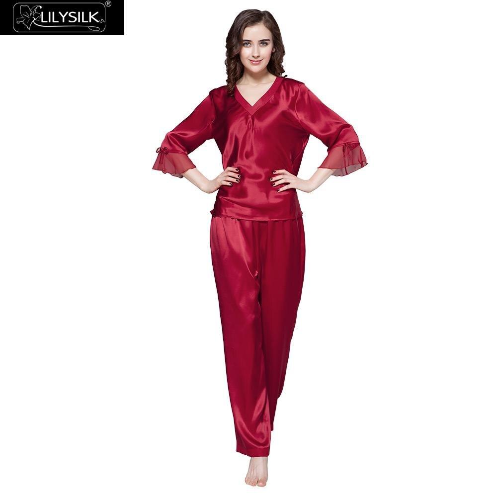 LilySilk Pajamas Set Women Pure 100 Silk Luxury Natural Female Shorts Sleepwear Women s Clothing Free