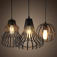 Modern Pendant Light Black Iron Hanging Cage Vintage Led Lamp Bulb E27 Industrial Loft Retro Dining Room Restaurant Bar Counter artpad white black modern design metal pendant lights for dining room kitchen e27 base bird cage retro pendant lamp bar light