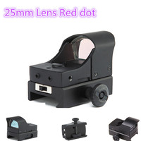 Tactical Mini Tipo Ornitorinco 25mm Lens Micro Red Punto Verde Scope Sight Per Tessitore di Picatinny Mount w/Parasole Airsoft Fucile Da Caccia
