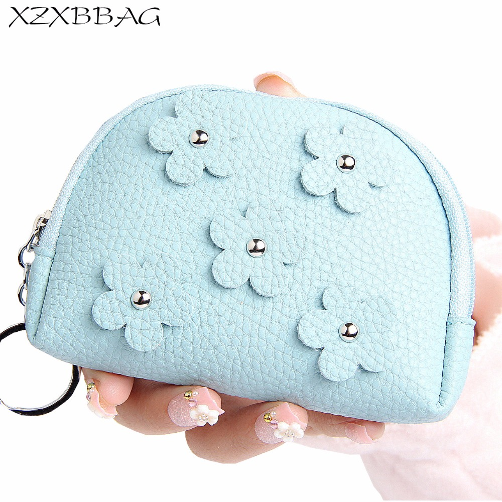 XZXBBAG Fashion Women Cute Floral Short Coin Purse Female Zipper Small Wallet Girls Change Purse Money Bag Mini Handbag Key Bag xzxbbag fashion female zipper big capacity wallet multiple card holder coin purse lady money bag woman multifunction handbag