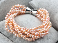 Details about Multi Strands Natural Pink Freshwater Pearl Bracelet with Magnetic Clasp