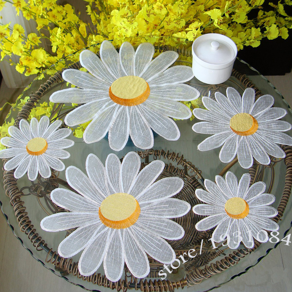 Daisy Kitchen Decor: Daisy Table Mat Pads Embroidered Tablecloths Coffee Table