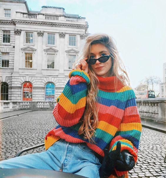 Chandails mode 2018 femmes nouveaux pulls pull tricoté arc-en-ciel rayé pull à col roulé femmes pull lâche pull