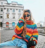 Sweaters Fashion 2018 Women New Jumpers Knitted Sweater Rainbow Striped Turtleneck Sweater Women Loose Sweater pullover