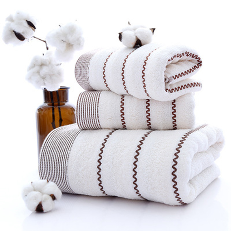 LF88006  New Pure Cotton Water Lines Set Of Bath Towel Three-piece Adult Gift Bath Towel Hand Face Towel Set