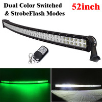 52inch 300W White Green Dual Color Switched Strobe Led Curved Light Bar Spot Flood Combo For Off Road Driving Truck Jeep Hunting