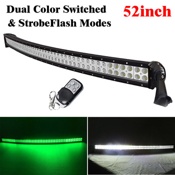 "52"" inch 600W White/Green/Strobeflash Led Curved Light Bar Spot Flood Combo Fit For Off-Road Driving Truck ATV SUV 4X4 BOAT 4WD"