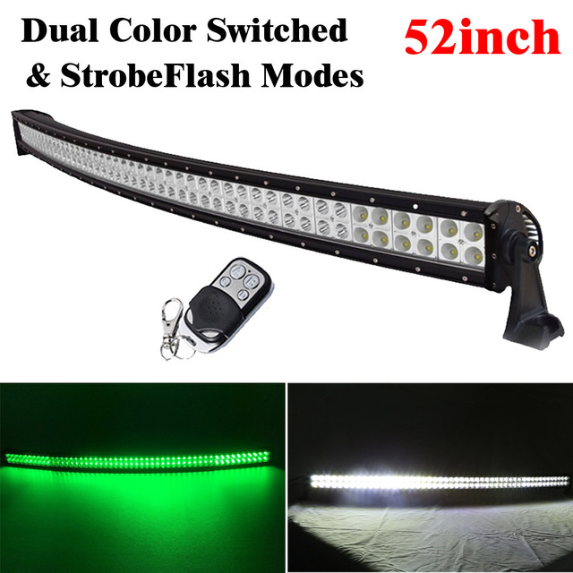 52inch 300w white green dual color switched strobe led curved light 52inch 300w white green dual color switched strobe led curved light bar spot flood combo for aloadofball Choice Image