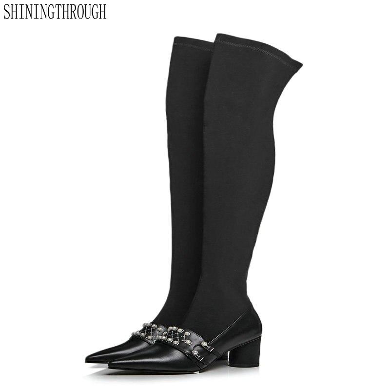Cuir de vache femmes sur les bottes épais talons hauts bottes femme poined toe printemps automne fête mariage chaussures femme grande taille 43