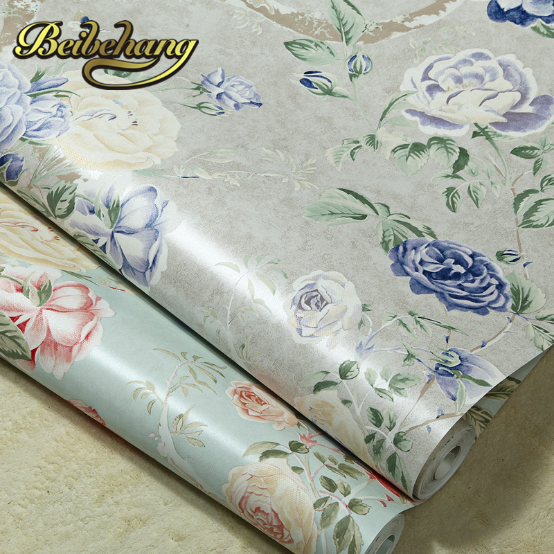 ФОТО beibehang wall paper. papel de parede 3d Pune wallpaper American pastoral style flower green warm pure paper wallpaper bedroom