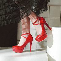 Sexy Thin HIgh Heel Buckle Platform With Ankle Strap Pumps Fashion Round Toe Dress Shoes Women Red Black Apricot