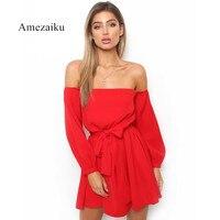Elegant spring summer Dress Short Dresses for Women Ladies Plain red white Round off shoulder Long Sleeve bow Tie Waist Dress