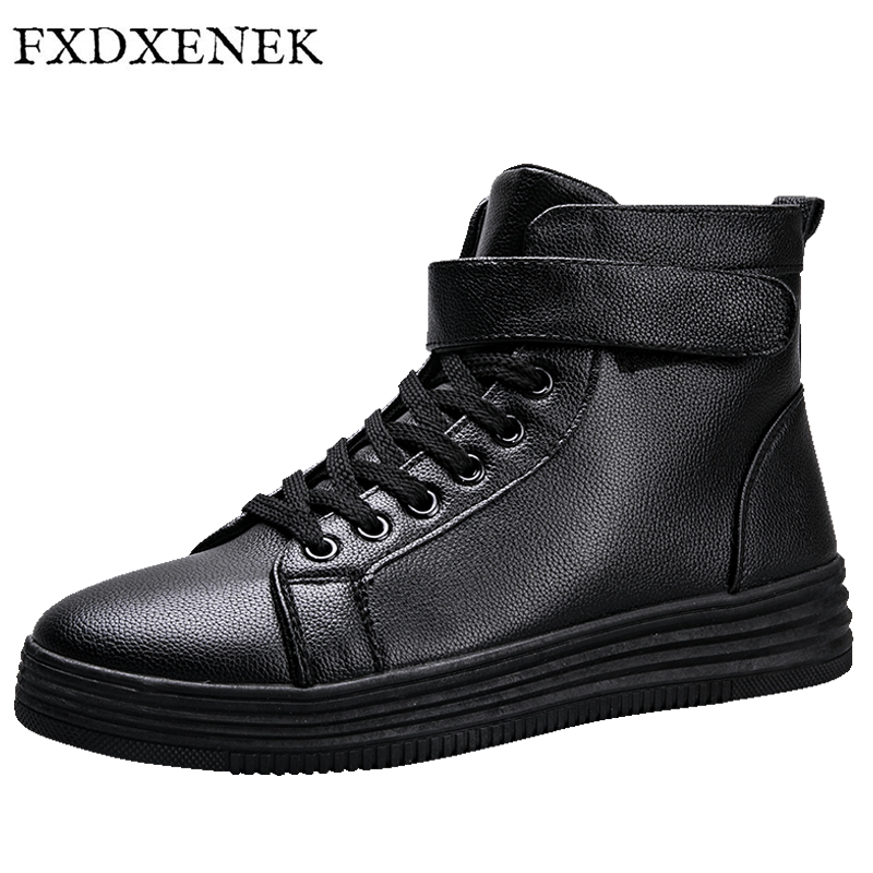 FXDXENEK Autumn/Winter New Fashion Men Casual Shoes PU Leather Men Flats Shoes High Top Men Shoes Luxury Brand Men Leisure Shoes 2017 new spring imported leather men s shoes white eather shoes breathable sneaker fashion men casual shoes