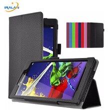 Litchi Soporte Folio Funda Protectora Para Lenovo Tab 3 8 TB3-850F TB3-850M TB3-850X 8.0 pulgadas PU Cubierta de Cuero de la Tableta PC + pantalla + pluma