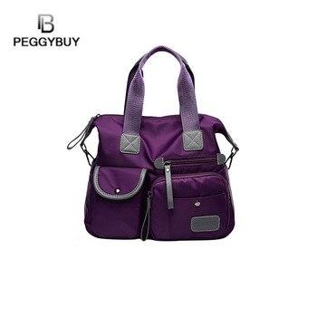 1bb9aa81bcb4 Многофункциональная Женская водонепроницаемая сумка нейлоновая сумка-тоут дорожная  сумка через плечо для женщин Bolsa Женский Топ-сумка чер.