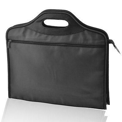 40cm X 35cm Rectangle 2 Sections Zip Up Closure Nylon File Bills Bag Black