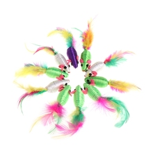 10 Pcs Silk Yarn False Mouse Cat Toys Colorful Feather Lovely Chew Playing