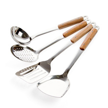 Soup-Spoon Kitchen-Utensils Wooden Stainless-Steel Fry Stir And Shovel Spatula Colander