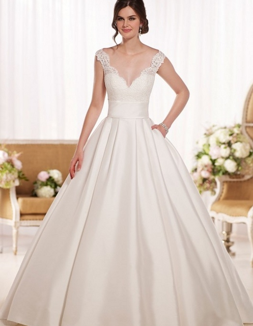 Ball Gown Wedding Dress 2016 Simple Satin Romantic Princess
