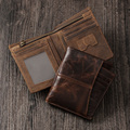 New Hot Sale Cattle Men male Brand vintage crazy horse Genuine Real leather Short Card Holder Zipper Wallet Purse Hipster