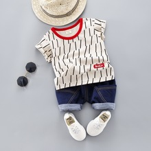 Summer Baby Boys Clothes Sets Children Clothing Short Sleeve Shirt +Jeans For Boys Sport Suits Costume Kids Clothes цена