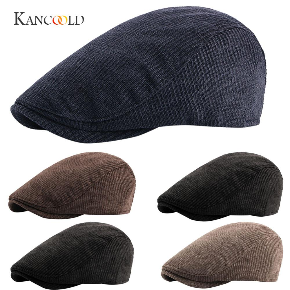 KANCOOLD cap hatsune miku Mens Winter bucket hat Warm Corduroy Tweed Newsboy Golf Gatsby Ivy Cap Driving Beret Hat FEB24
