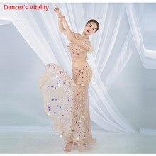 여성 밸리 댄스 연습 의류 여름 슬링 스플릿 롱 스커트 정장 뉴 오리엔탈 댄스 세트 탑 + 스커트 2pcs