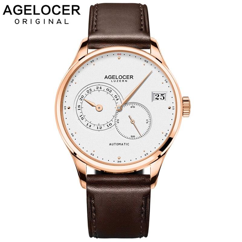 Роскошные швейцарские брендовые автоматические мужские часы AGELOCER  мужские золотые водонепроницаемые наручные часы relogio masculino title=