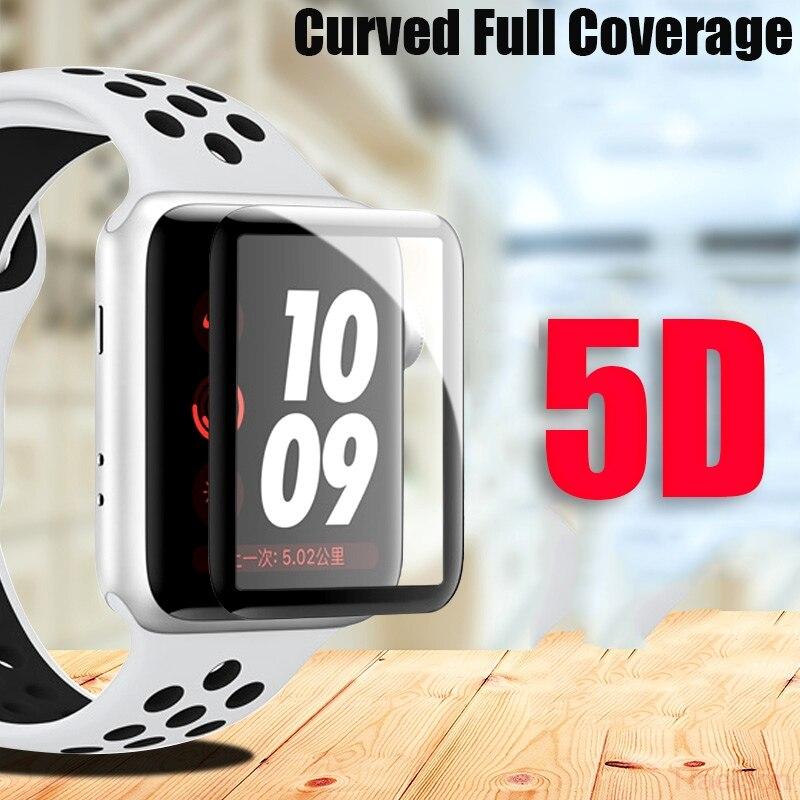 5D Curvas Cobertura Completa Relógio de Vidro Temperado Para A Apple 1/2/3 Protetor de Tela cheia Tampa 38mm/42mm tamanho 9 H film vidro para iwatch