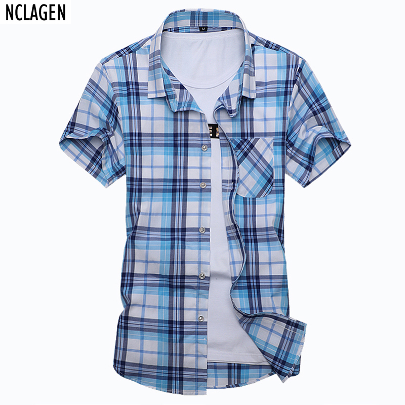 NCLAGEN Plus Size 6XL 7XL Summer Fashion Men's Shirt Slim Fit Short Sleeve Plaid Clothes Trend Casual Mens Social Shirt