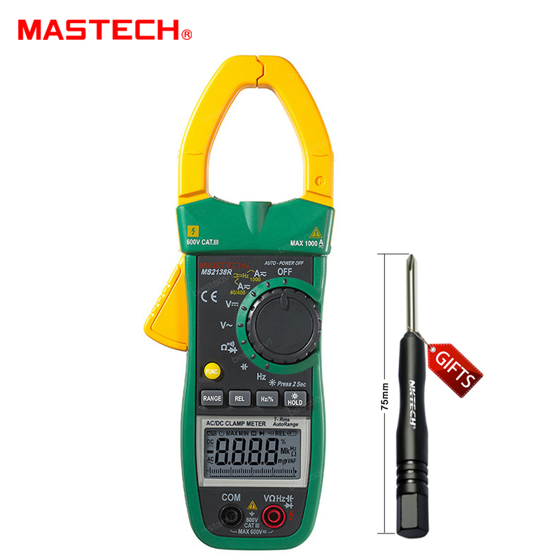 MASTECH MS2138R 4000 Counts Digital AC DC Clamp Meter Multimeter Voltage Current Capacitance Resistance Tester 1 pcs mastech ms8269 digital auto ranging multimeter dmm test capacitance frequency worldwide store