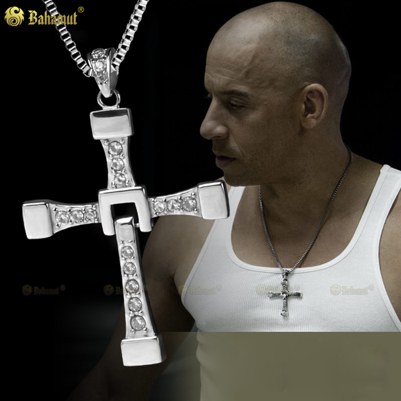 Bahamut Big size Fast and Furious 7 Dominic Toretto's Cross Necklace Pendant Vin Diesel Titanium Steel Necklace Men's Jewelry 100% high quality the fast and the furious celebrity vin diesel item crystal jesus cross pendant necklace for men gift jewelry