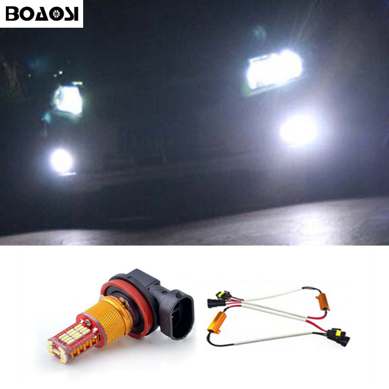 BOAOSI 1x Super White H8 H11 CREE Chip 4014SMD LED Fog Light Driving Bulbs for Skoda Octavia 2010-2014 Car Styling boaosi 2x h8 h11 led canbus bulbs reflector mirror design for fog lights for bmw e39 325 328 m mini sport