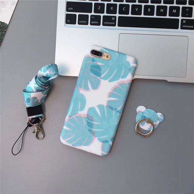 cda3e20f088884 Simple Fresh Light Blue Leaf for iPhone 6 6s Case Fashion Multi-function  Finger Ring Phone Case for iphone 6 6s Plus Case Coque