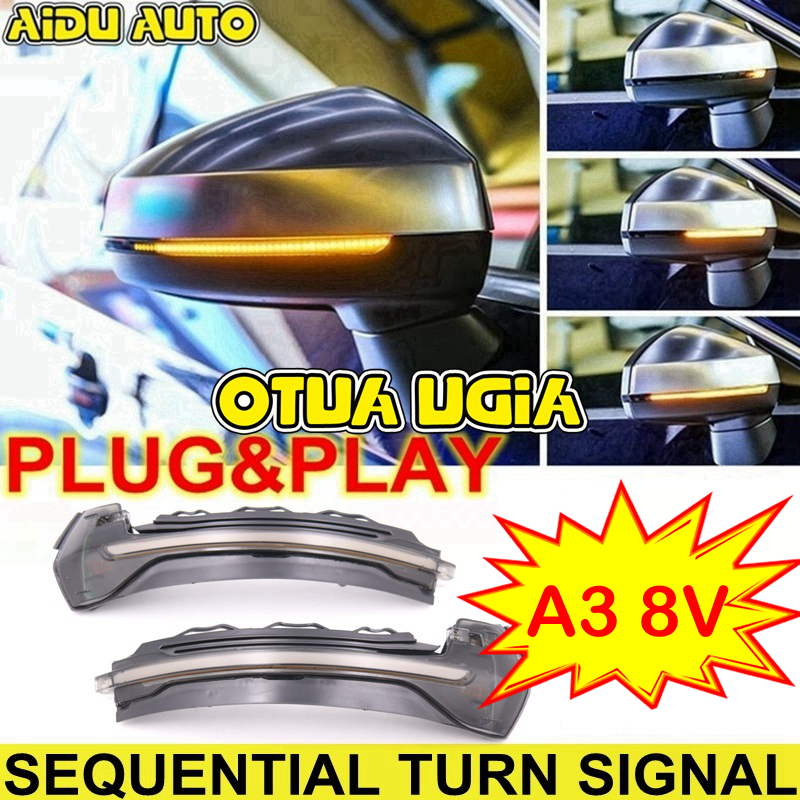 AIDUAUTO FOR Audi A3 8V S3 RS3 S line Dynamic Side Mirror light LED Turn Signal