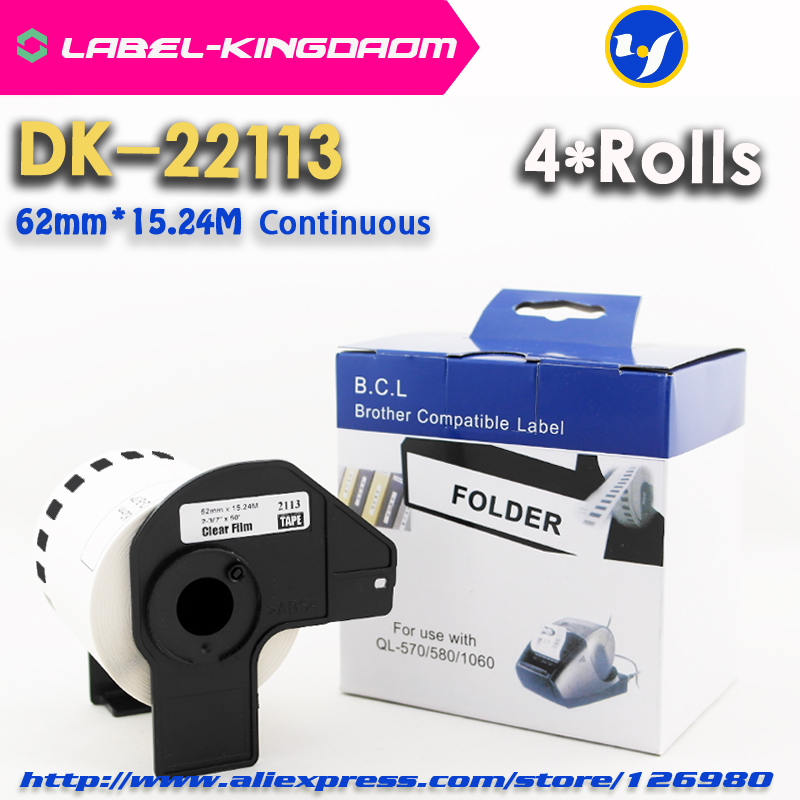 4 Rolls Compatible DK-22113 Label 62mm*15.24M Continuous Compatible for Brother Label Printer Half Transparent Material