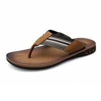new vintage fashion men genuine leather striped belt woven slipper breathable flip flops sandals comfortable beach shoes