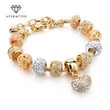 Attrattto новые браслеты золотого цвета в форме сердца для женщин