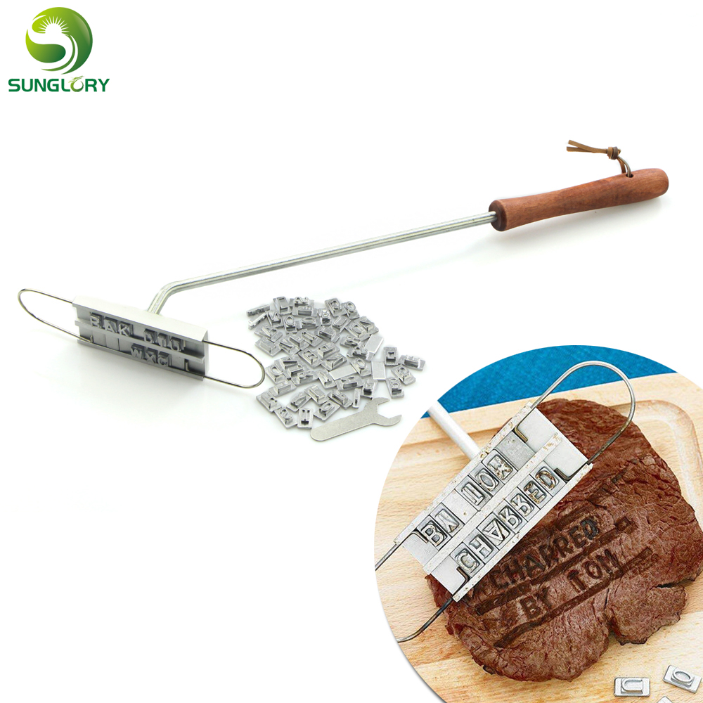 Personality Steak Meat Barbecue BBQ Branding Iron With Changeable 55 Letters Tool Accessories Cooking Tools