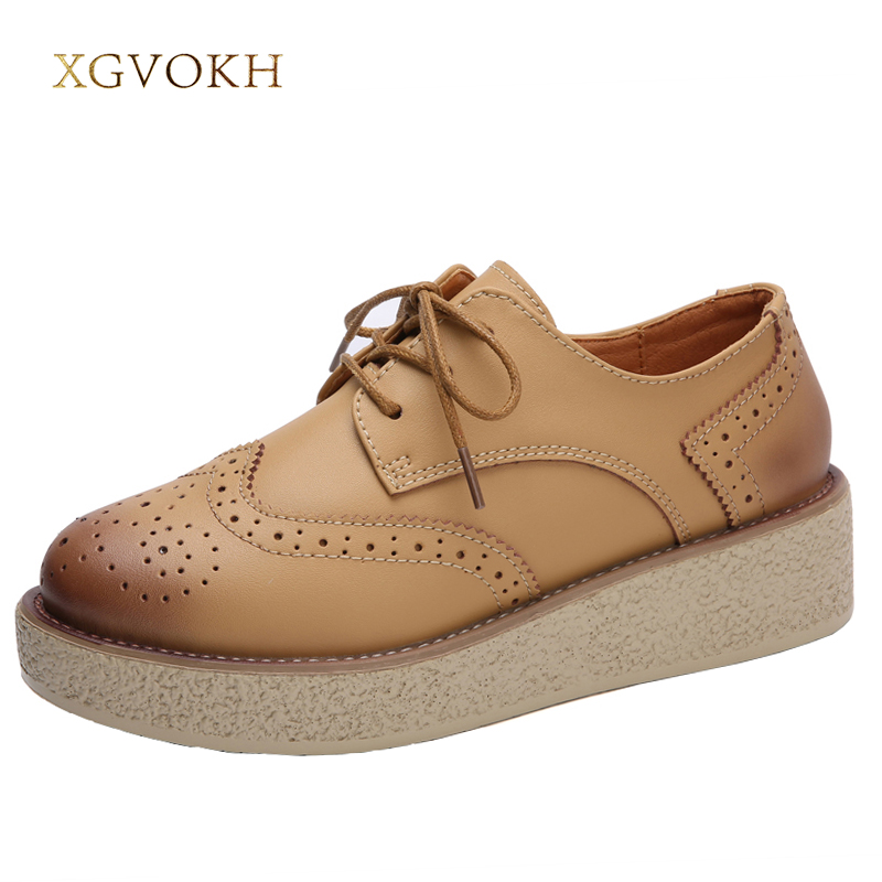 XGVOKH Women Flat Platform Oxford University style Brogue Leather Flats Solid British Ladies Casual Spring Autumn Woman shoes big size 33 42 brogue oxford shoes women spring autumn nubuck leather oxford shoes flats shoes woman moccasins ladies gg shoes